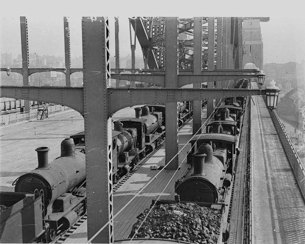 Load-testing of Harbour Bridge when fifty steam locos were run on western side, February 1932, by Ted Hood