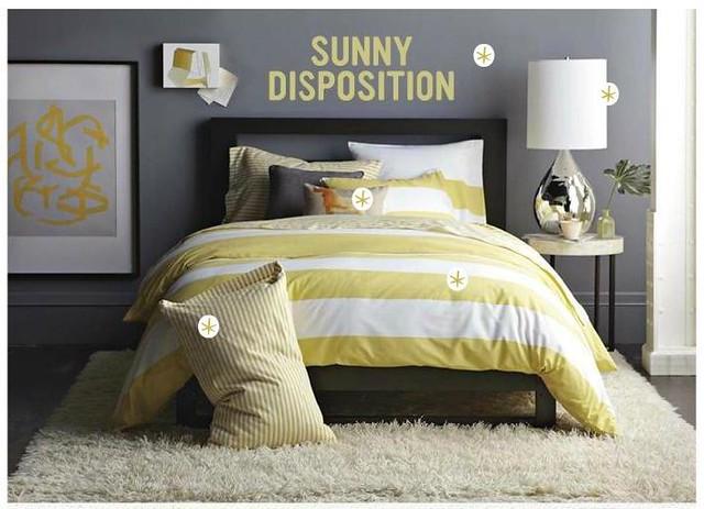 Gray + yellow bedroom: Benjamin Moore 'Shadow Gray' in West Elm