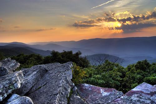 sunset summer mountains forest virginia hiking trail hiker overlook appalachiantrail windrock