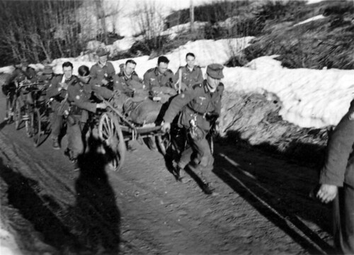 Bergjegerne rekvirerte vogner, sykler og hester på veien nordover
