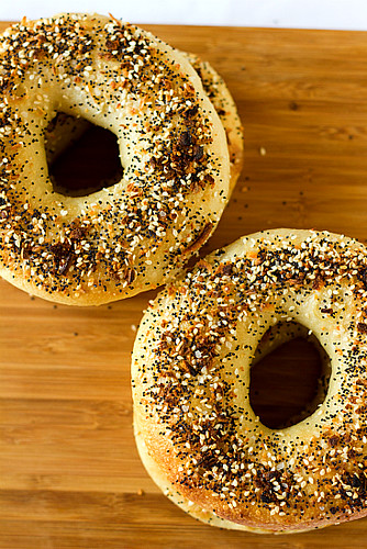 Topped with poppy seeds, sesame seeds, dried onion and garlic & salt | by Brown Eyed Baker