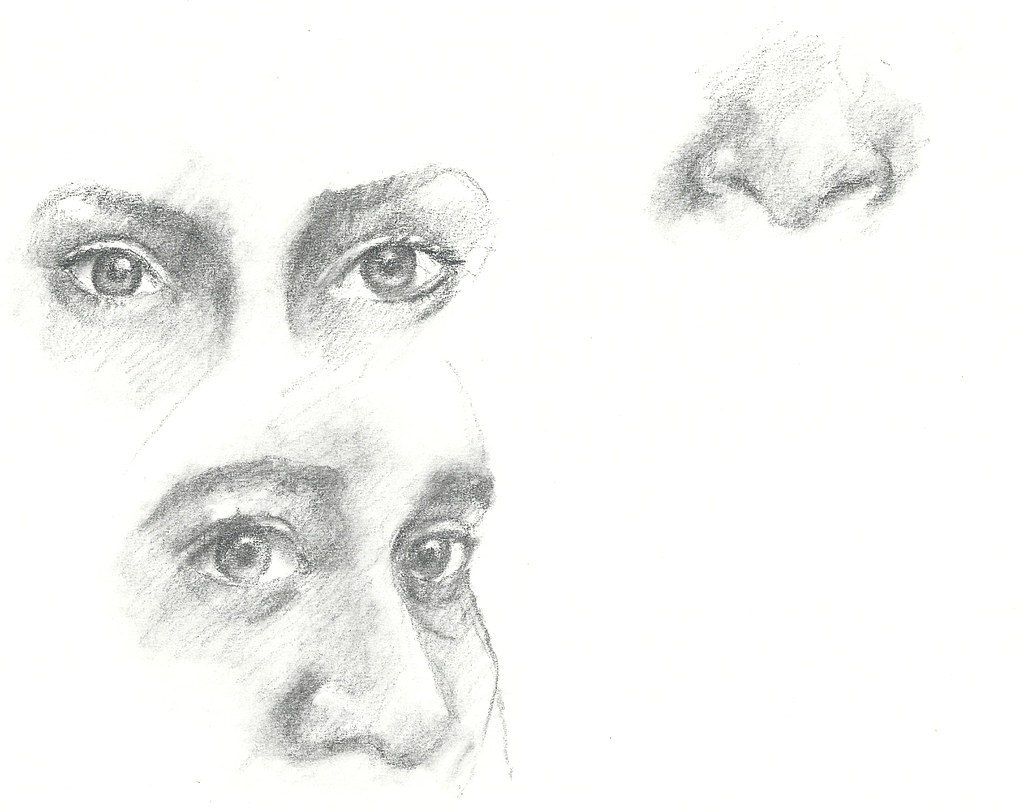 Pencil drawings of eyes and nose by calliartist