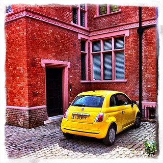 #Fiat #500 — definitely not my favourite colour, but looks good with this house!