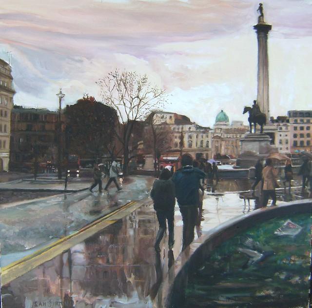 My painting, Trafalgar Square Rainy