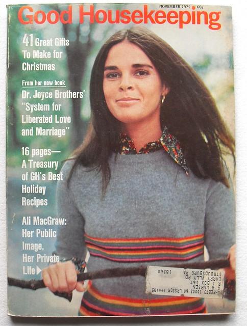 1972 ALI McGRAW Cover GOOD HOUSEKEEPING Vintage 1970s Magazine