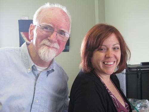 Phone Banker Dan Fitzgerald and Dev. Director Crystal. Photo by Jennifer Leslie