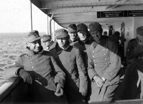 Soldater på ferge fra Jylland til Sjælland