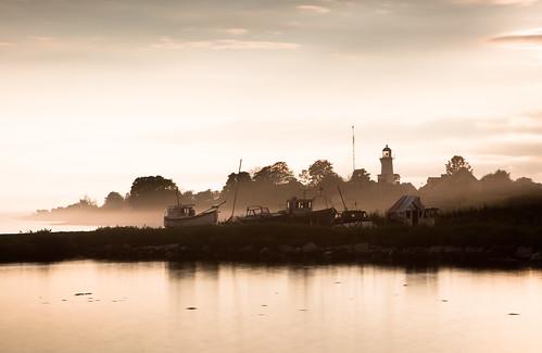 trees sunset sea lighthouse mist tree water fog boats evening harbor boat skåne sweden harbour dusk scania trelleborg smygehuk smygehamn