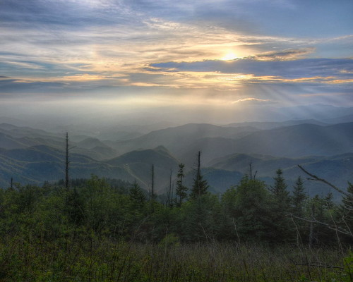 sunset mountains landscape nikon northcarolina blueridgemountains hdr blueridgeparkway photomatix waterrockknob tonemapped nikond90 waterrockknobsummittrail