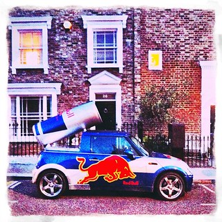Red Bull #Mini #pickup — a #car you wouldn't expect to find parked on a posh street