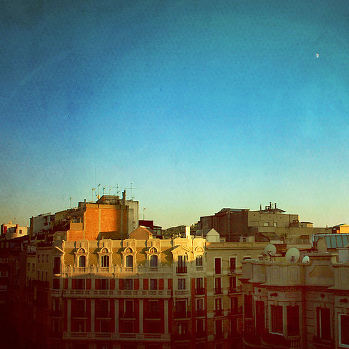 barcelona light sunset moon buildings square evening spain textures idream magicunicornverybest magicunicornmasterpiece