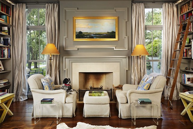Gorgeous gray + yellow living room: Benjamin Moore 'Dolphin' + English roll arm sofas + library ladders