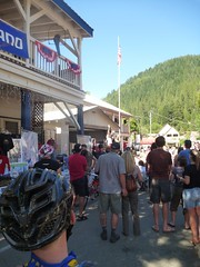 Matthew watching the pro all-mountain men's podium ceremony in town