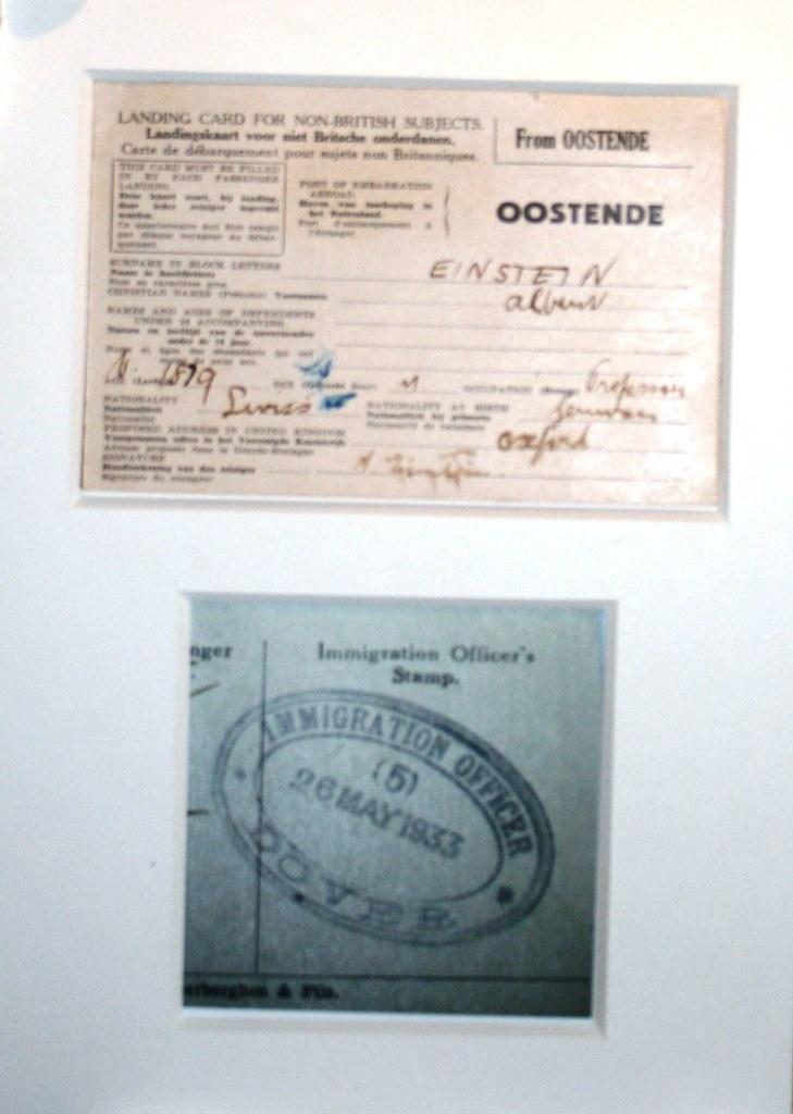 einstein's landing card  a landing card relating to