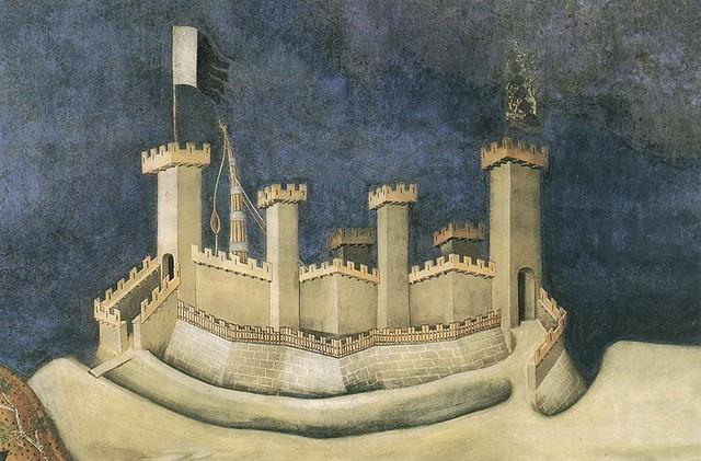 Simone Martini - Guidoriccio da Fogliano all'assedio di Montemassi, detail castle (1328)