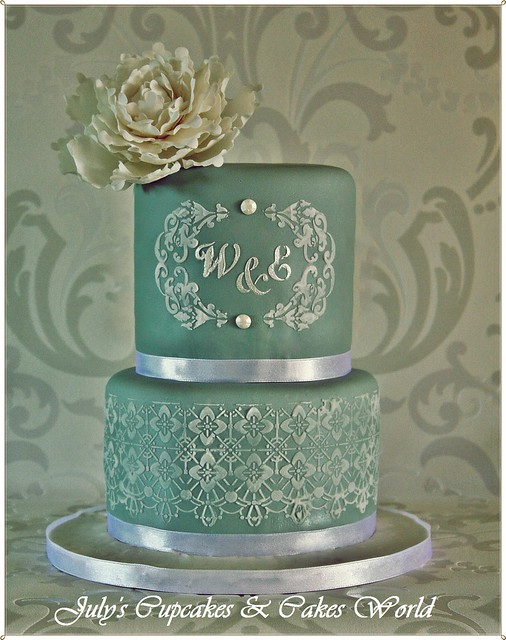 Wedding Victorian Lace Cake with Monogram