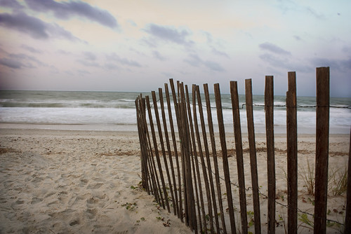 ocean sky clouds sunrise nc sand waves northcarolina snowfence longwalksonthebeach holdenbeachvacation2011
