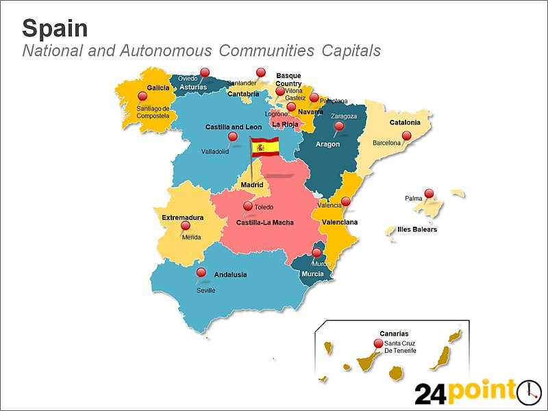Map 24 Spain.Map Of Spain National And Autonomous Communities Capitals Flickr