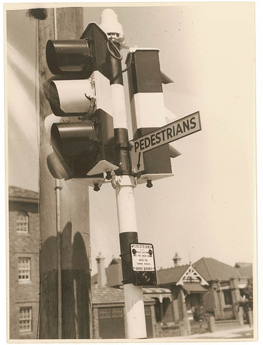 [Motor traffic and pedestrian traffic lights], n.d. by Sam Hood | by State Library of New South Wales collection