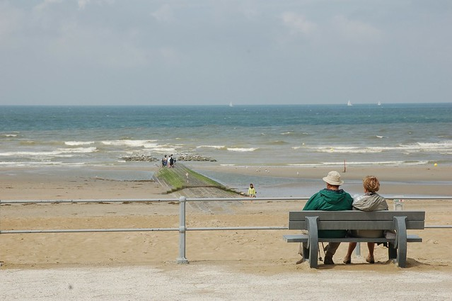 Bench at the pier, Koksijde, Belgium