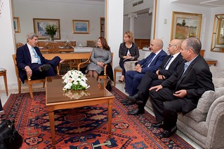 Secretary Kerry Chats with Members of the Nobel Peace Prize-winning Quartet Before Meeting in Tunis