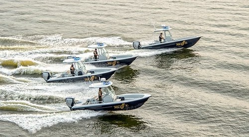 Photo of Maryland Natural Resources Police Everglades boats riding in formation