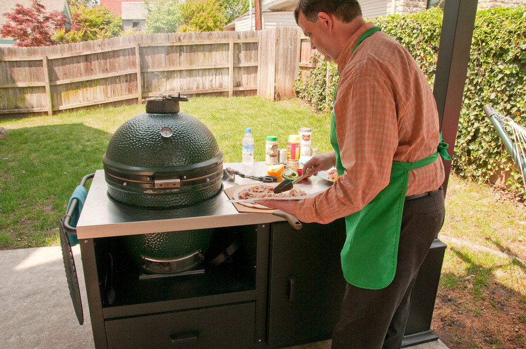 Food prep on ceramic grill table for Big Green Egg, Primo