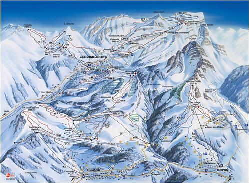 Oblast Ženevského jezera - mapa sjezdovek