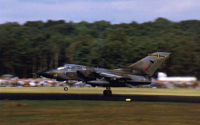 Tornado GR-1 ZA412/FZ from 16Sq RAFG during take-off at the Soesterberg airshow 01-09-1984. (Scanned from Dia)