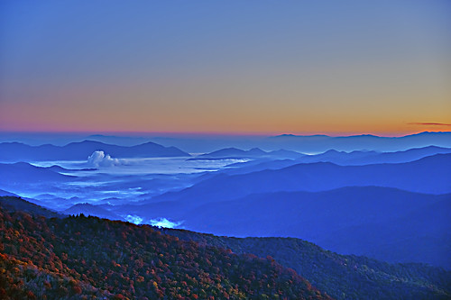 blue mountains fall sunrise ridge