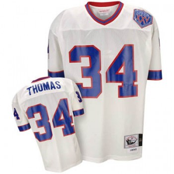 free shipping 732b1 02356 Mitchell & Ness Thurman Thomas 1990 Throwback White Jersey ...