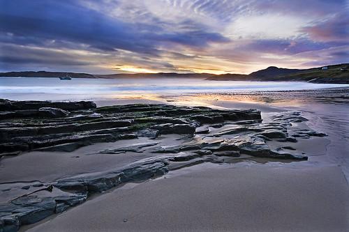 beach tongue sunrise scotland rocks sutherland talmine