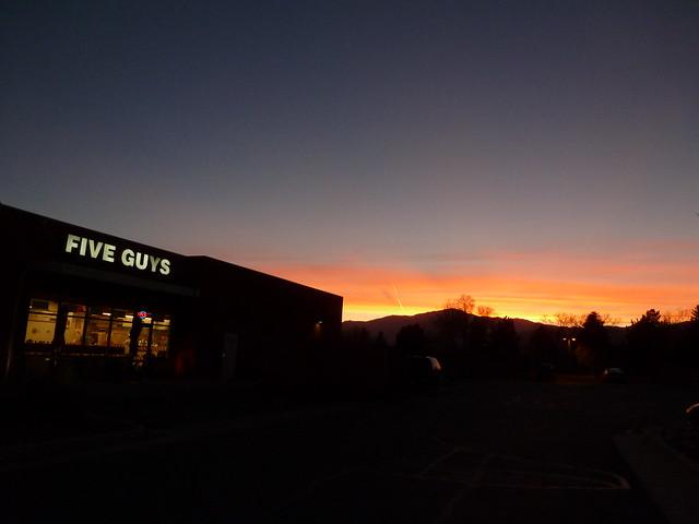 Sunset at Five Guys