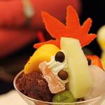 Japanese parfait using fall fruits (Shibuya, Tokyo, Japan)