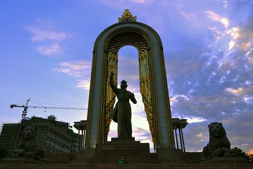 sunset monument asia central tajikistan dushanbe somoni