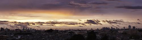 blue panorama yellow skyline clouds sunrise dawn tokyo shinjuku cityscape purple ikebukuro a77 skytree bentorode slta77
