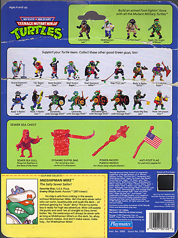 Mutant Military  TEENAGE MUTANT NINJA TURTLES ::  MIDSHIPMAN MIKE ..card backer ii (( 1991 )) by tOkKa