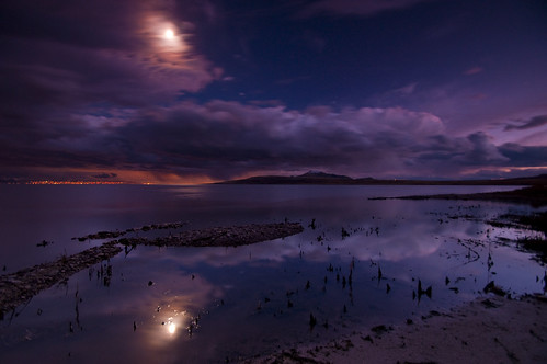 sunset moon reflection water clouds antelopeisland greatsaltlake citylights nikond90
