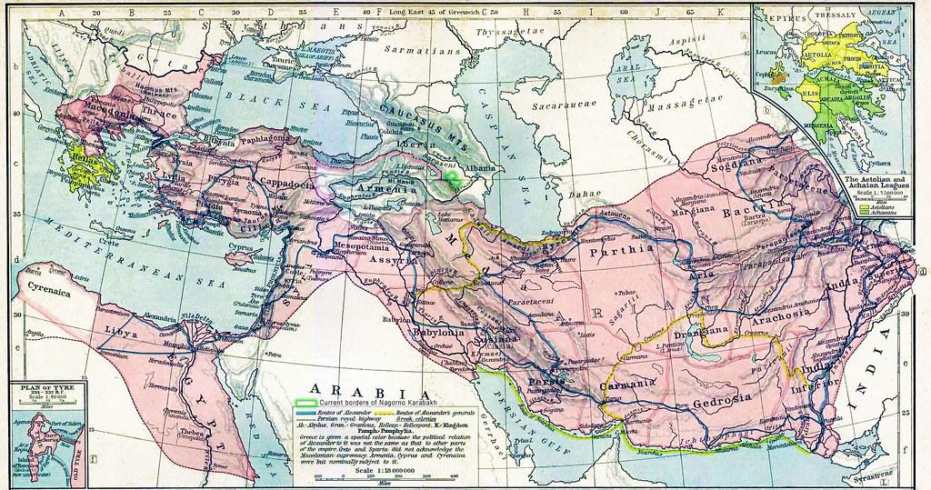 map of Karabakh part of Caucasian Albania