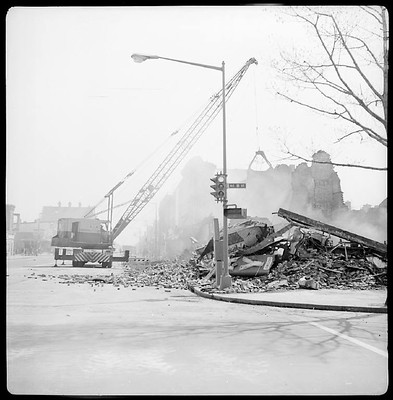Post riot cleanup of the 800 block of H Street NE, note the Kay Jewelers sign, Alexander Lmanian photo