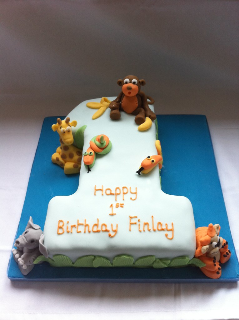 Remarkable Boys 1St Birthday Cake Jungle Animals Tracy Yapp Flickr Funny Birthday Cards Online Alyptdamsfinfo
