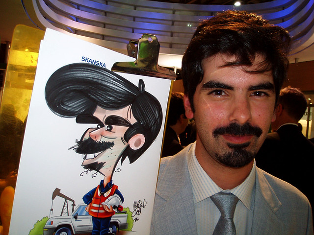 skanska caricaturista stand expo
