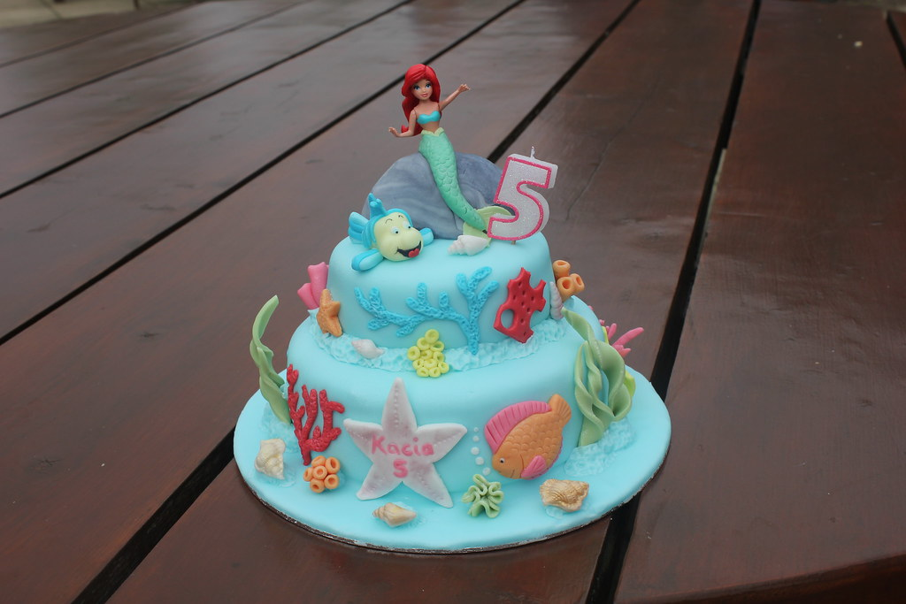 Magnificent Ariel The Little Mermaid 5Th Birthday Cake Ms Mummy Bb Flickr Personalised Birthday Cards Paralily Jamesorg