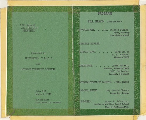 Y Archives - 3-4-1948 - 19th annual all pledge meeting - bevier hall - program | by universityymca