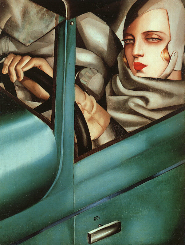 Lempicka, Tamara de (1898-1980) - 1925 Self-Portrait in Green Bugatti (Private Collection)