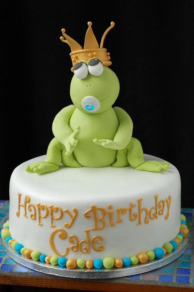 Wondrous Cades Frog Prince Birthday Cake Front Based On Design B Flickr Birthday Cards Printable Benkemecafe Filternl