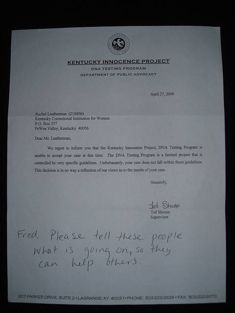 Letter from Kentucky Innocence Project