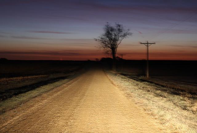 Early morning, farm road.