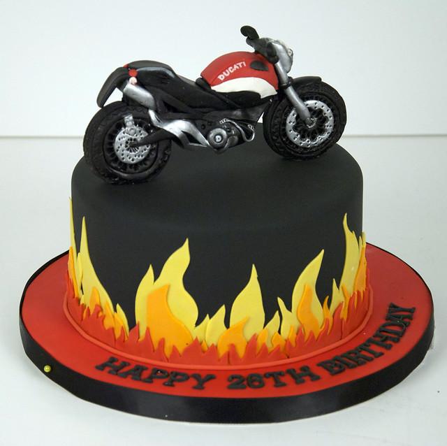 flame ducati motorcycle cake toronto