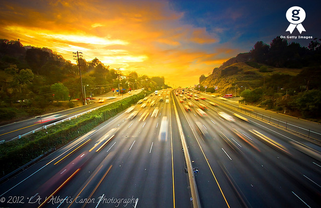 Into the sunset, after work on the 101 Freeway!